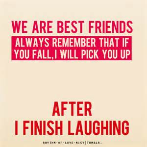 Laughing at best friend